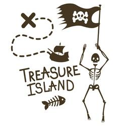 Treasure island one color design vector