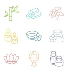 Set of spa and recreation icons in linear style vector