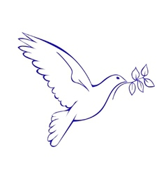 Dove with branch symbol of peace vector