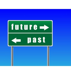 Traffic sign future past sky background vector