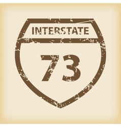 Grungy interstate 73 icon vector