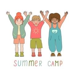 Joyful children in a summer camp logo vector