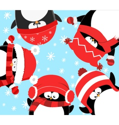 Penguins celebrating christmas vector