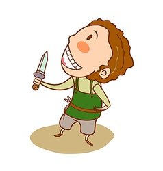 Close-up of boy holding knife vector