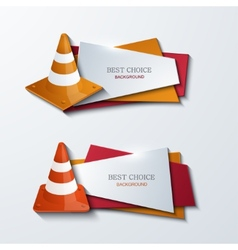Modern traffic cones banners icons set vector