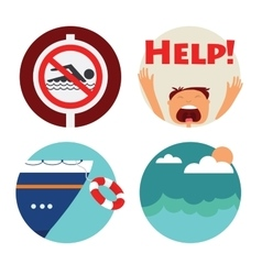 Rescue of drowning man icons prohibition vector