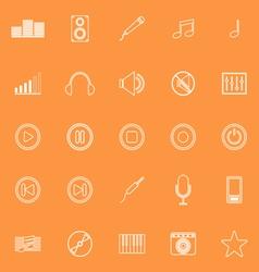 Music line icons on orange background vector