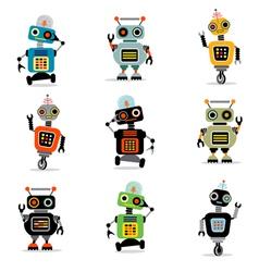 Cute robots set 3 vector