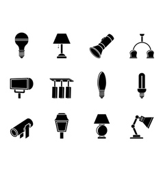 Silhouette different kind of lighting equipment vector