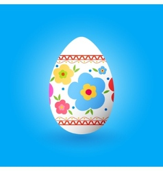 Easter egg with ornament of flowers vector