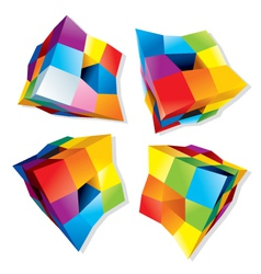 Colored cube logos vector