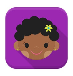 Smiling african girl face app icon with long vector