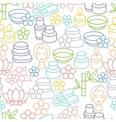 Spa and recreation seamless pattern with icons in vector