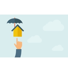 Hand pointing to a house umbrella icon vector