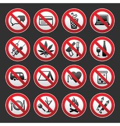 Prohibited symbols on gray background vector
