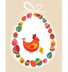 Easter frame hen vector