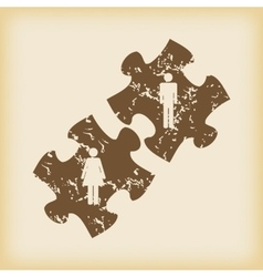 Grungy people puzzle icon vector