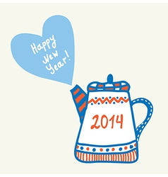 New year and christmas teapot vector