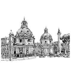 Black and white digital drawing of rome italy vector