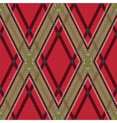Rhombic tartan red and green fabric seamless vector