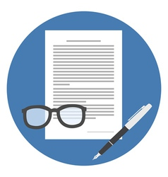 Contract icon flat style isolated in colored vector