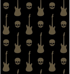 Seamless background with skulls and guitars vector