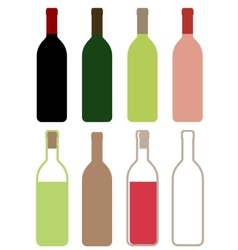 Colorful wine bottles vector