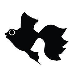 Silhouette of goldfish vector