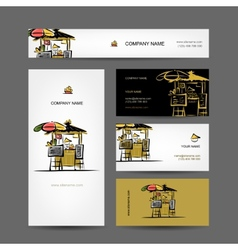 Set of business cards design street market vector