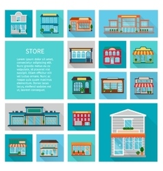 Shopping in stores icons set vector