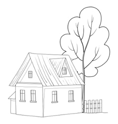 House with a tree vector