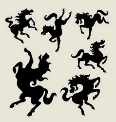 Horse dancing silhouettes vector