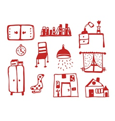 Furniture icons set funny vector