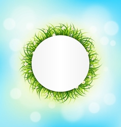 Circle frame with green grass chamomiles on sky vector