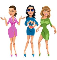 Three glamorous girls vector