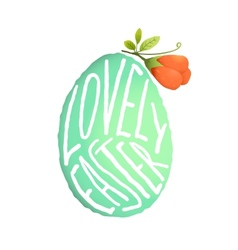 Single easter egg with flower decoration in vector
