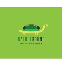 Abstract turtle with headphones logo icon concept vector