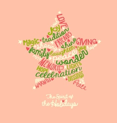 Pink holiday star word cloud greeting card vector