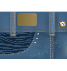 Glamorous blue jeans with label vector