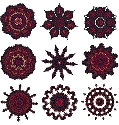 Set of burgundy mandalas vector