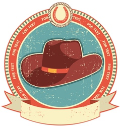 Cowboy hat label vector