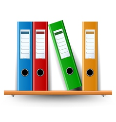 Binder set on wood shelf vector