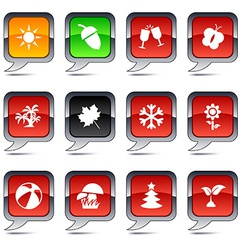 Seasons balloon icons vector