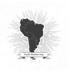 South america map with vintage style star burst vector