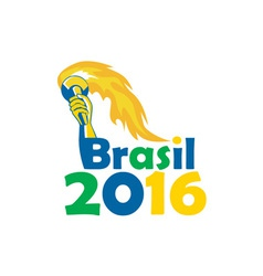 Brasil 2016 summer games athlete hand torch vector