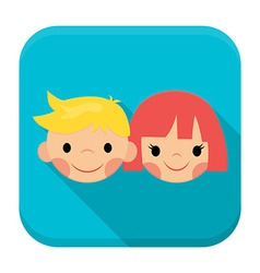 Smiling children faces app icon with long shadow vector