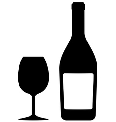 Isolated bottle and glass vector