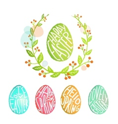 Easter eggs collection with flowers decoration in vector
