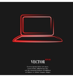 Notebook flat modern web button and space for your vector
