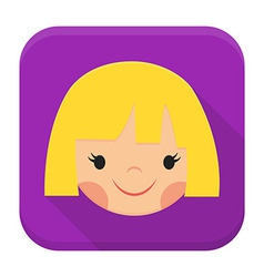 Smiling girl face app icon with long shadow vector